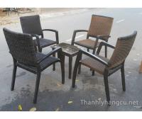 Thanh lý bàn ghế gỗ cafe 051